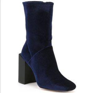 Halston Kandi Blue Corduroy Boot Size 8